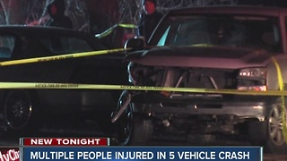 Multiple people injured in 5 vehicle crash in Indy - Video