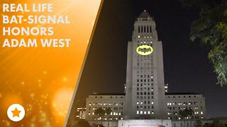 L.A. shines the bat sign in honor of Adam West - Video