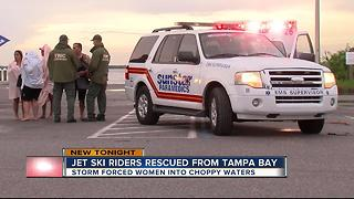Jet ski riders rescued from Tampa Bay - Video