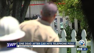 Woman killed in Greenacres crash after car hits pole - Video