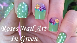 Romantic Pastel Green Polka Dot & Rose Nail Art - Video
