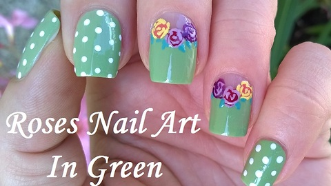 Romantic Pastel Green Polka Dot & Rose Nail Art