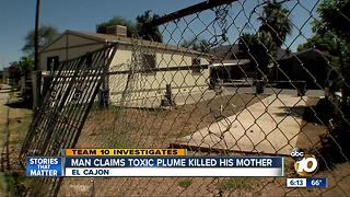 Man claims toxic plume killed his mother - Video