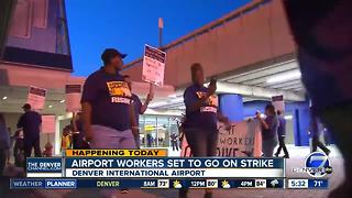 Denver airport workers join strike over pay, working conditions - Video