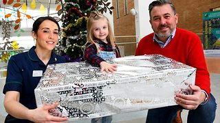 Little girl with heart condition who has spent every Christmas in hospital donates 1,000 presents to hospital patients  - Video
