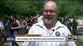 Anti-Sharia law protest and counter protests take place in Phoenix - Video