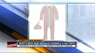 Burt's Bees Baby recalls infant coveralls due to choking hazard - Video