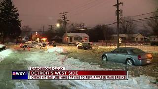 Crews hit gas line while trying to repair water main breaks - Video