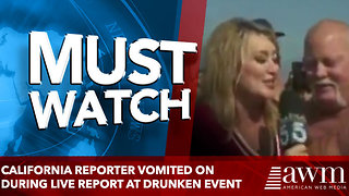 California reporter vomited on during live report at drunken event - Video