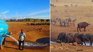"""""""The Waterman"""" Drives For Hours To Provide Water To Animals During Drought  - Video"""