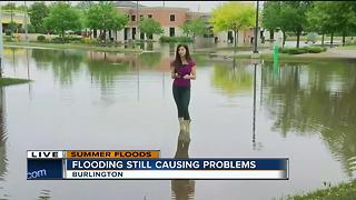 Flood waters remain high in Burlington