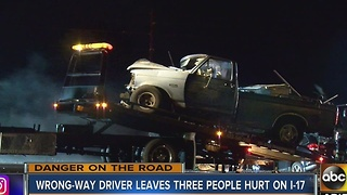 Wrong-way driver leaves 3 injured in crash on Interstate 17 - Video