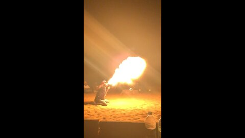 Fire breather in the deserts of india