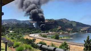 Smoke Visible From Train Derailment Site in Columbia River Gorge - Video