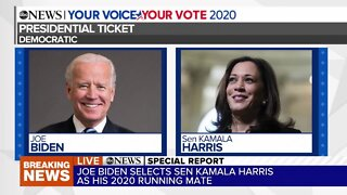 Joe Biden chooses Kamala Harris as vice presidential running mate