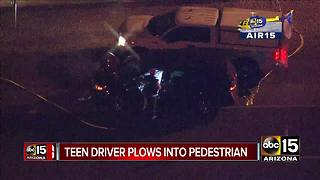Teen driver plows into pedestrian - Video