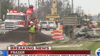 Gas line hit near Fraser sinkhole - Video