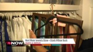 Mom invents stack pillow rack - Video