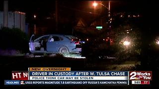 Driver in custody after chase in West Tulsa - Video