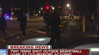 Two teens shot outside basketball game at Detroit's Old Redford Academy - Video