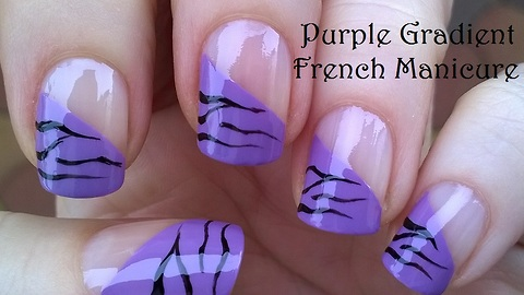 Side purple French manicure with tiger print