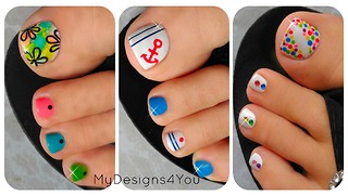 3 easy summer toenail designs - Video