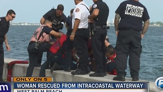 Woman rescued from Intracoastal waterway - Video