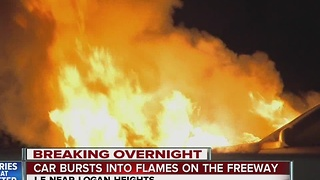 Car bursts into flames on the freeway - Video