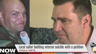 Sailor battling veteran suicide with petition - Video
