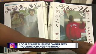 Detroit t-shirt business owner sees troubling change - Video