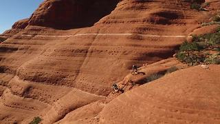 Mountain bikers tempt fate on dangerous White Line trail - Video