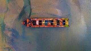 Drone captures mesmerizing view of Staten Island boat graveyard
