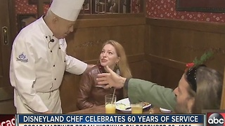 Disneyland's oldest employee Oscar Martinez celebrates 60 years of service on Thursday - Video