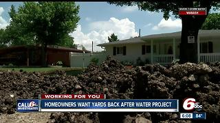 Indy homeowners upset their yards a mess weeks after water project - Video