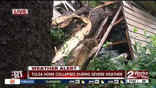 Tulsa home collapses during severe weather - Video
