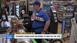 Standing wheelchair delivered to cashier with spina bifida at Canton Giant Eagle