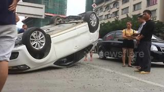 Truck tail lift catapults car into midair