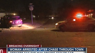 Woman in custody after leading overnight chase in stolen car - Video