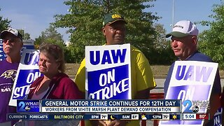 General Motors workers continue to strike for the 12th day