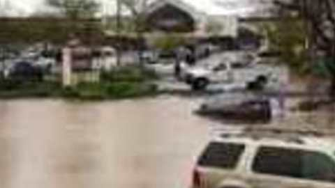 Motorists Drive Through Flooded Streets in Folsom, California