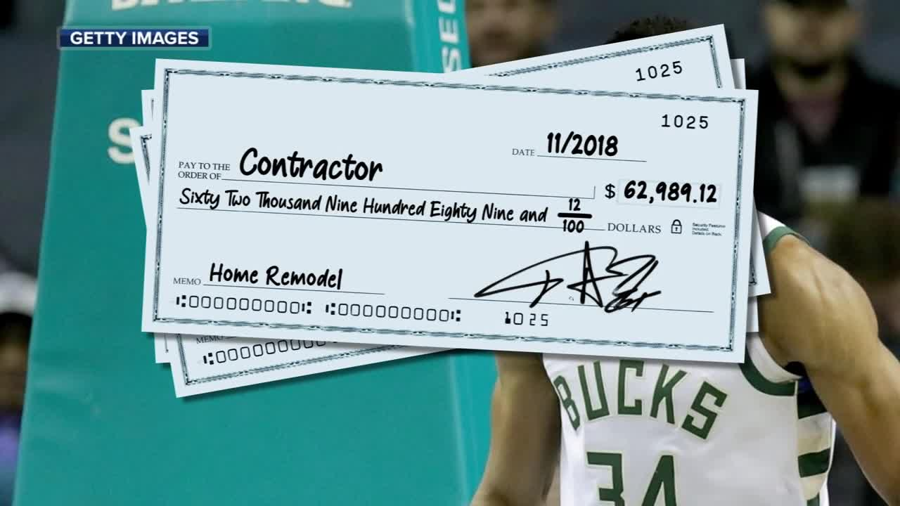 Giannis sues contractor for $238,000 worth of work, which included a custom shoe closet
