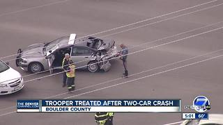 Trooper rushed to hospital after two-car crash near Boulder - Video