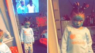 Hilarious little girl paints face green to look like ninja turtle