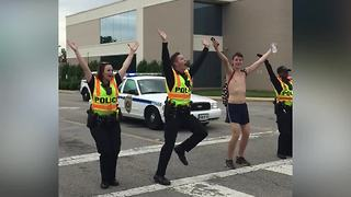 Police Officers Start YMCA Flash Mob - Video