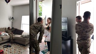 US Air Force Airman Surprises Wife And Son After Six Months Serving Overseas - Video
