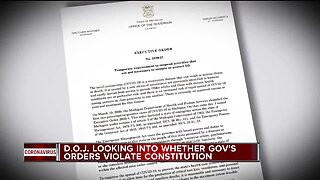 D.O.J. looking into whether governor's orders violate constitution