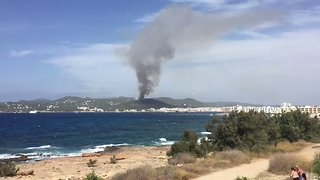 Aircraft Battle Forest Fire Near Ibiza Tourist Town