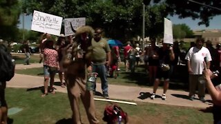 Man wearing fur and horns at June 2020 Scottsdale mask protest