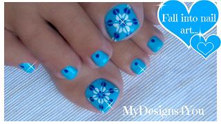 Easy floral toenail art using striping tape - Video