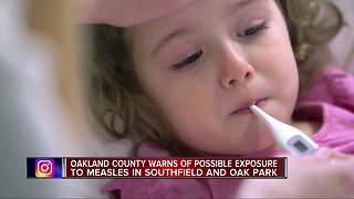 Case of travel-related measles confirmed in Oakland County